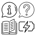 Property Notices / Display of informational texts - e.g., operating instructions, dimensions, assembly instructions, user manual icon