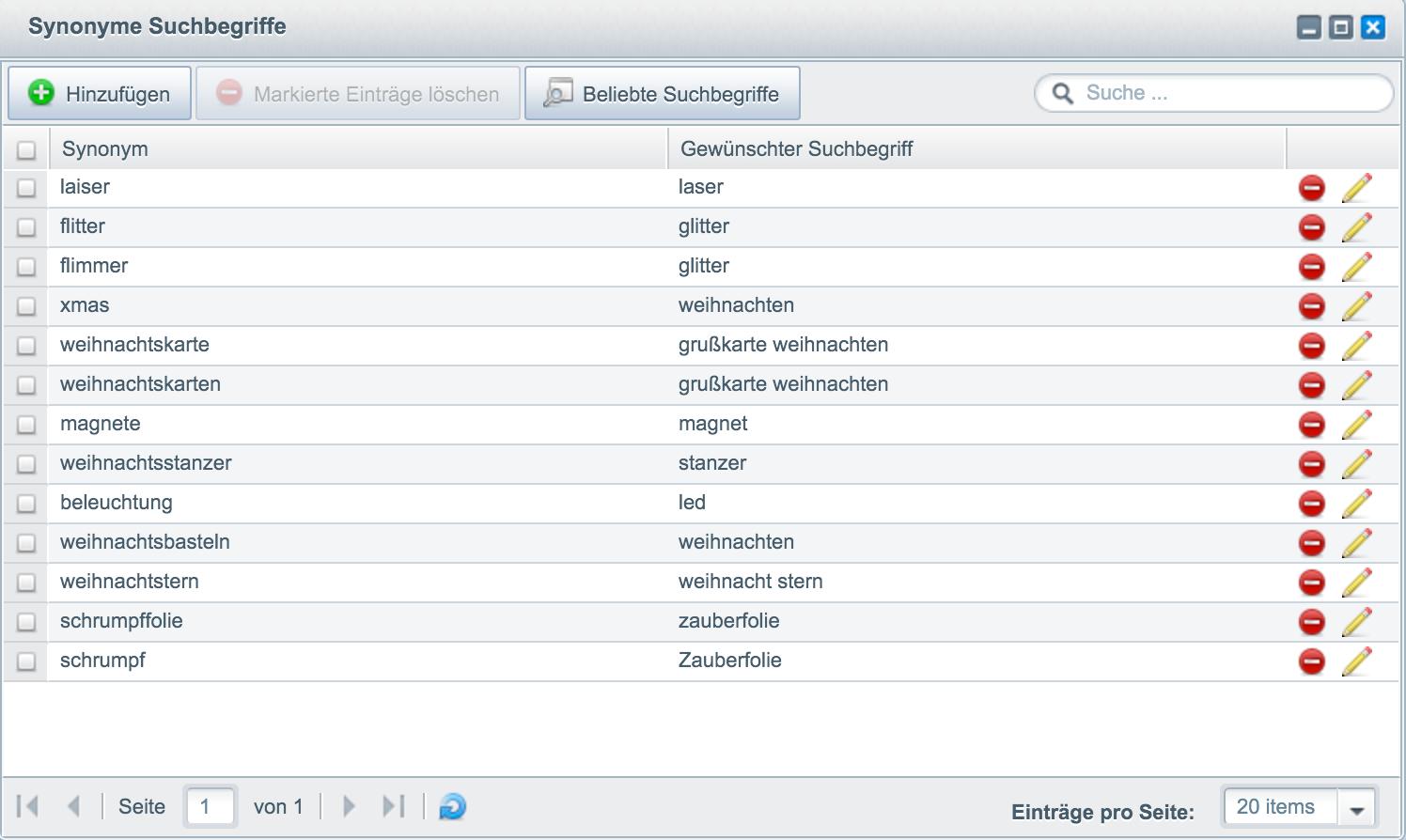 Synonym Suche Suche Storefront Detailanpassungen