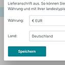 Auswahl von Land und Währung zur Anzeige der landestypischen Preise (Lieferschwelle) icon