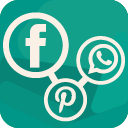 Social Media Share buttons for products (Facebook, Twitter, Pinterest, WhatsApp, email) icon